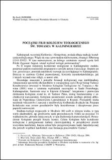 Początki Filii Kolegium Teologicznego św. Tomasza w Kaliningradzie