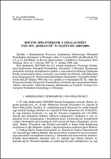 """Roczne sprawozdanie z działalności WSD MW """"Hosianum"""" w Olsztynie (2007/2008)"""