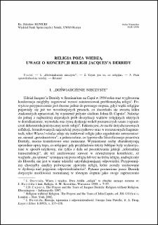 Religia poza wiedzą : uwagi o koncepcji religii Jacques'a Derridy