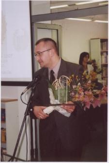 """[Szymon Drej laureat Literackiej Nagrody Warmii i Mazur """"Wawrzyn"""" (2007). 1]"""