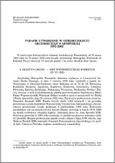 Parafie utworzone w dziesięcioleciu Archidiecezji Warmińskiej 1992-2002