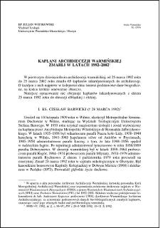 Kapłani Archidiecezji Warmińskiej zmarli w latach 1992-2002