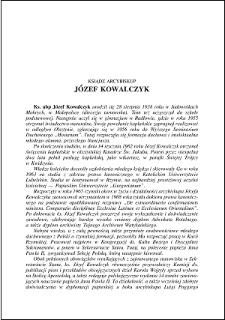 Ksiądz arcybiskup Józef Kowalczyk