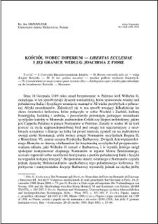 """Kościół wobec imperium : """"libertas ecclesiae"""" i jej gwarancje według Joachima z Fiore"""
