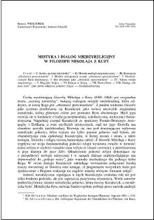 Mistyka i dialog międzyreligijny w filozofii Mikołaja z Kuzy