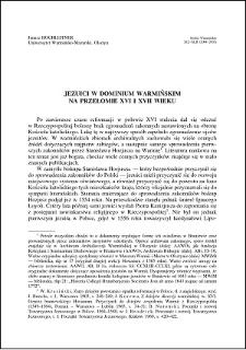 Jezuici w dominium warmińskim na przełomie XVI i XVII wieku