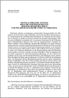 Mittelalterliche Anfänge der Parlamentsgeschichte: Heiliges Römisches Reich und Polnisch-Litauische Union im Vergleich