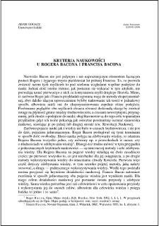 Kryteria naukowości u Rogera Bacona i Francisa Bacona