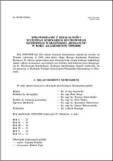 """Sprawozdanie z działalności Wyższego Seminarium Duchownego Metropolii Warmińskiej """"Hosianum"""" w roku akademickim 1999/2000"""
