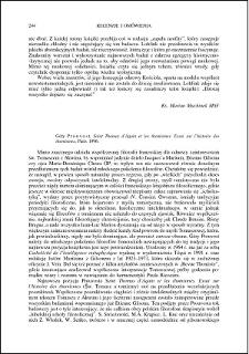 Géry Prouvost, Saint Thomas d'Aquin et les thomismes. Essai sur l'histoire des thomismes : [recenzja]