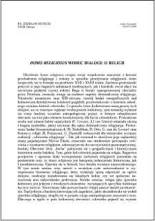 """""""Homo religiosus"""" wobec dialogu o religii"""