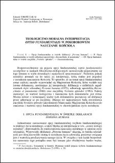 """Teologiczno-moralna interpretacja """"Optio fundamentalis"""" w posoborowym nauczaniu Kościoła"""