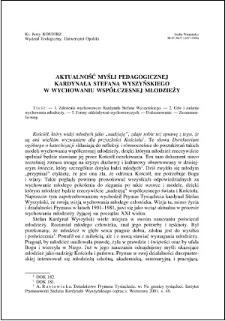 Aktualność myśli pedagogicznej Kardynała Stefana Wyszyńskiego w wychowaniu współczesnej młodzieży