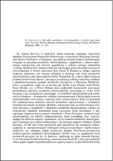 A. Jucewicz, Specyfika moralności chrześcijańskiej w świetle nauczania Jana Pawła II : [recenzja]