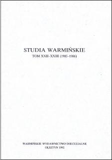 Studia Warmińskie T. 22-23 (1985-1986) - cały numer