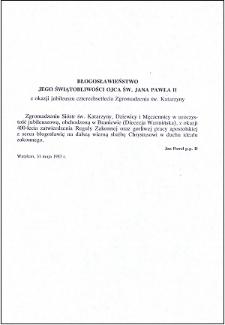 Błogosławieństwo Jego Świątobliwości Ojca Świętego Jana Pawła II