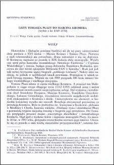 Listy Tomasza Płazy do Marcina Kromera