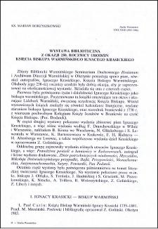 Wystawa biblioteczna z okazji 250. roczny urodzin Księcia Biskupa Warmińskiego Ignacego Krasickiego