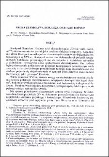 Nauka Stanisława Hozjusza o Słowie Bożym : [część 1]