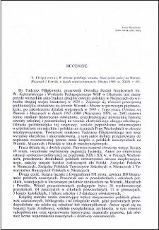 T. Filipkowski, W obronie polskiego trwania. Nauczyciele polscy na Warmii, Mazurach i Powiślu w latach międzywojennych : [recenzja]