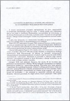 Czynności kardynała Stanisława Hozjusza na stanowisku wielkiego penitencjarza