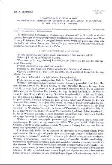 """Sprawozdanie z działalności Warmińskiego Seminarium Duchownego """"Hosianum"""" w Olsztynie za rok akademicki 1983/1984"""