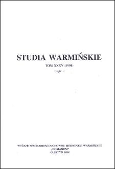 Studia Warmińskie T. 35 (1998) - cały numer