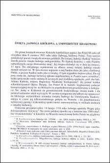Święta Jadwiga Królowa a Uniwersytet Krakowski,