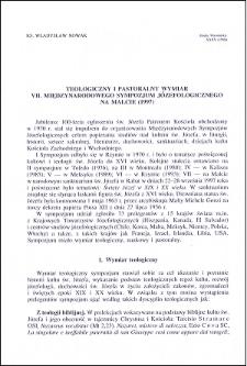 Teologiczny i pastoralny wymiar VII. Międzynarodowego Sympozjum Józefologicznego na Malcie (1997)