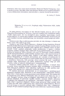 Władysław Piwowarski, Socjologia religii : [recenzja]
