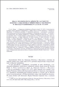 Praca wychowawcza Sióstr św. Katarzyny Dziewicy i Męczennicy wśród dzieci i młodzieży w Diecezji Warmińskiej w latach 1772-1870