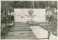 Harcerze przy pomniku poległych walczących o utrwalenie władzy ludowej