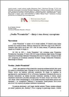 """""""Studia Warmińskie"""" : dzieje i stan obecny czasopisma"""