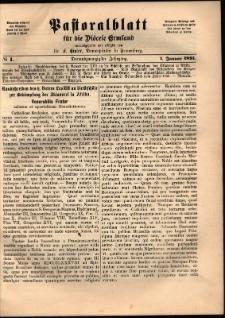 Pastoralblatt für die Diözese Ermland, 1891, nr 1