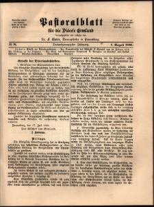 Pastoralblatt für die Diözese Ermland, 1891, nr 8