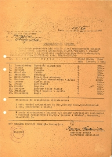 Potwierdzenie odbioru książek 1949. [1]