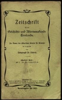 Zeitschrift für die Geschichte und Altertumskunde Ermlands, 1911, t. 18, z. 1