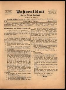 Pastoralblatt für die Diözese Ermland, 1902, nr 1