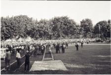 Zakończenie wyścigu kolarskiego na stadionie miejskim w Mrągowie