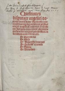 Quaestiones de potentia Dei etc. / Ed. Theodoricus de Susteren
