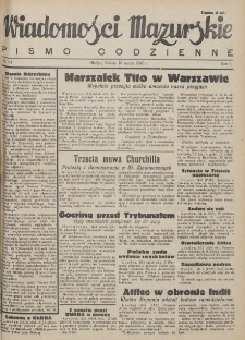 Wiadomości Mazurskie : pismo codzienne. 1946 (R. 2), nr 64
