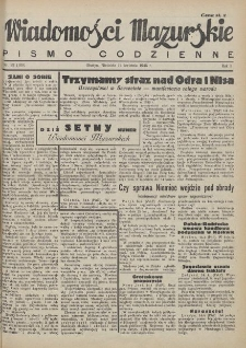 Wiadomości Mazurskie : pismo codzienne. 1946 (R. 2), nr 89 (100)
