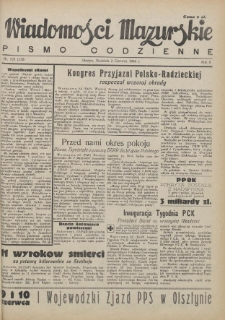 Wiadomości Mazurskie : pismo codzienne. 1946 (R. 2), nr 125 (136)
