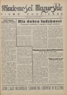 Wiadomości Mazurskie : pismo codzienne. 1946 (R. 2), nr 140 (151)