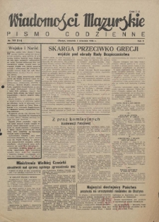 Wiadomości Mazurskie : pismo codzienne. 1946 (R. 2), nr 203 (214)