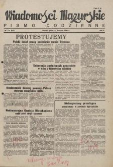 Wiadomości Mazurskie : pismo codzienne. 1946 (R. 2), nr 211 (222)
