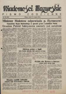 Wiadomości Mazurskie : pismo codzienne. 1946 (R. 2), nr 214 (225)
