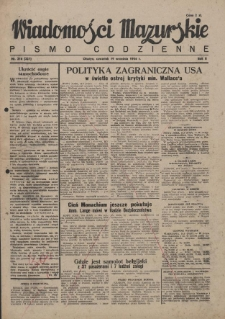 Wiadomości Mazurskie : pismo codzienne. 1946 (R. 2), nr 216 (227)