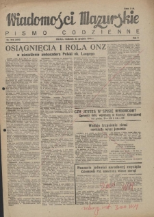 Wiadomości Mazurskie : pismo codzienne. 1946 (R. 2), nr 296 (307)