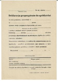 Deklaracja przystąpienia do spółdzielni
